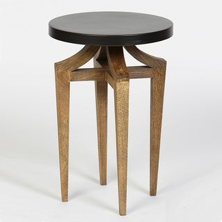 Rustic Bronze Wood End Table with Metal Top