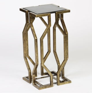 Geometric Accent Table with Granite Top