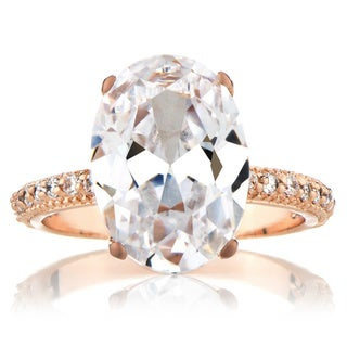 Rose Goldtone Cubic Zirconia Wedding-style Ring