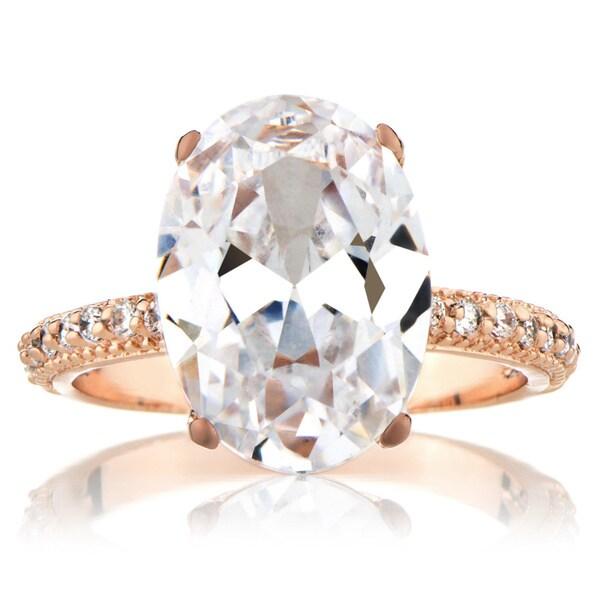 Rose Goldtone Cubic Zirconia Wedding-style Ring