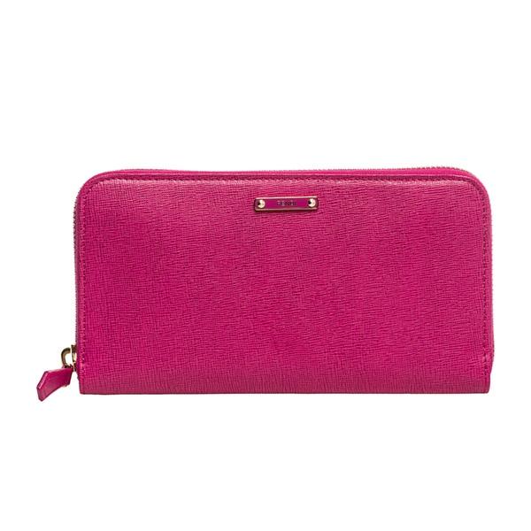 Fendi Crayons Fuchsia Leather Zip Wallet