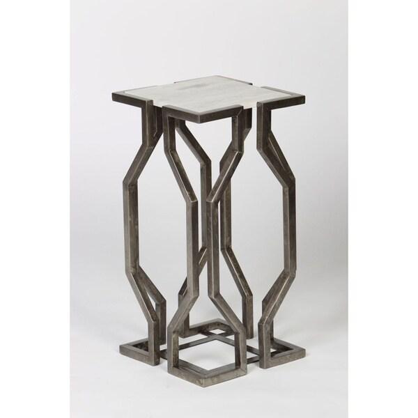Handmade Geometric End Table with Granite Top
