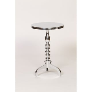 Luxe Cast Aluminum Finish Pedestal End Table