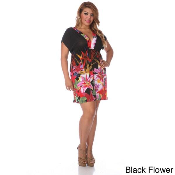 White Mark Plus Size Deep V-Cut 'Milano' Dress