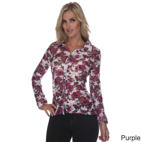White Mark Feminine & Floral Lacy Button-Down Shirt