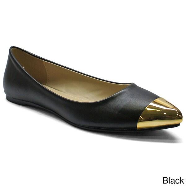 Betani Women's 'Natalie-1' Goldtone Toe-cap Pointed Flats