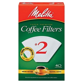 Melitta 622704 #2 Paper White Cone Coffee Filters (Set of 40)