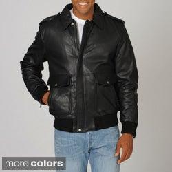 Whetblu Men's Mahogany Classic Bomber Leather Jacket