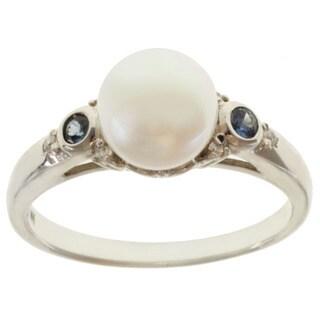 Michael Valitutti 14k White Gold White Pearl, Blue Sapphire and Diamond Ring