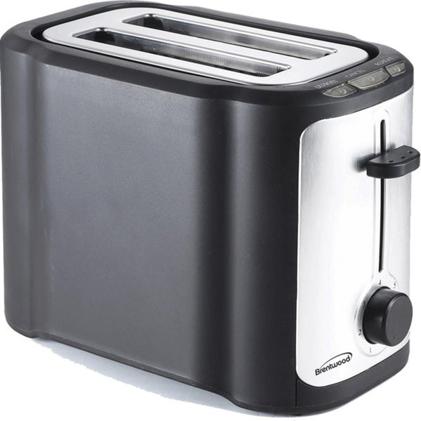 Brentwood TS-290B 2 Slice Stainless Steel Toaster- Black & Stainless