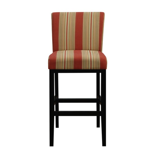 Portfolio Orion Red Stripe Upholstered 29 Inch Bar Stool