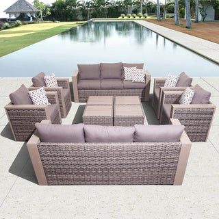 Atlantic Freeport 10-piece Synthetic Wicker Furniture Conversation Set