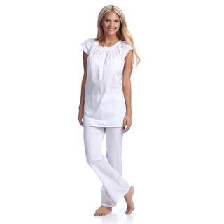 Eyelet-Trimmed Pajama Set