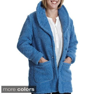 La Cera Women's Luxury Plush Heather Hooded Fleece Jacket - Free