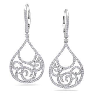 Miadora 14k White Gold 1ct TDW Diamond Dangle Earrings (G-H, SI1-SI2)