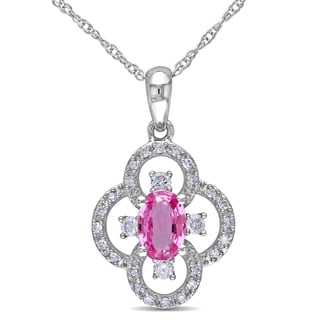 Miadora 10k White Gold 1/6ct TDW Diamond and Pink Sapphire Necklace (G-H, I1-I2)