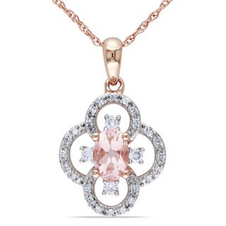 Miadora 10k Rose Gold Morganite 1/6ct TDW Diamond Necklace (G-H, I1-I2)