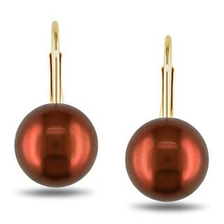 Miadora 10k Yellow Gold Freshwater Chocolate Pearl Earrings (7-7.5 mm)