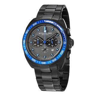 Stuhrling Original Men's Concorso 177 Quartz Chronograph Black Stainless Steel Bracelet Watch