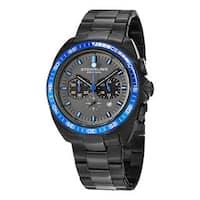 Stuhrling Original Men's Concorso 177 Quartz Chronograph Black Stainless Steel Bracelet Watch