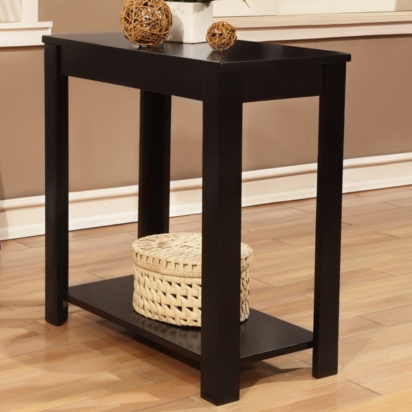 Black wooden chair side end table free shipping today for Black wood coffee table and end tables