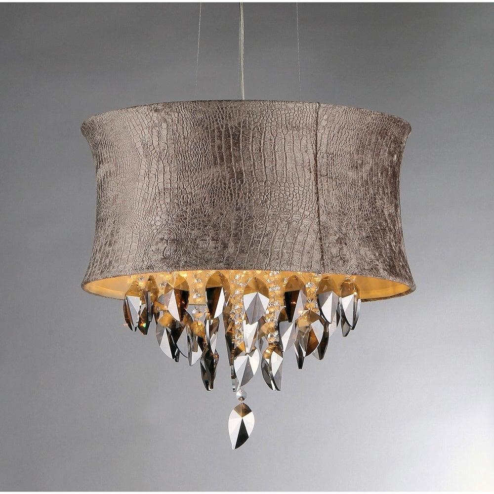 Warehouse of Tiffany Silver Velvet Fabric Crystal Chandel...