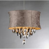 Silver Velvet Fabric Crystal Chandelier