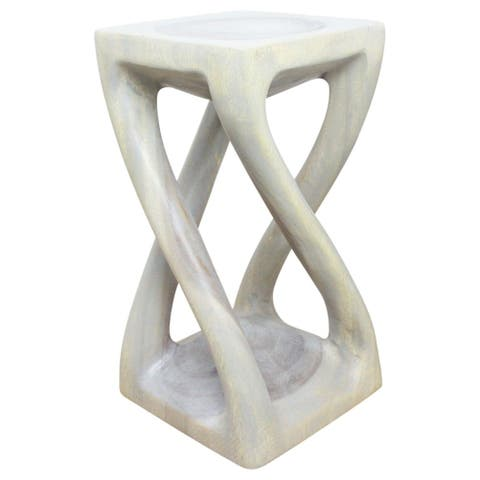 Haussmann Handmade Eco Wood Vine Twist Stool 12 in x 22 in H Agate Grey Oil - 12 x 12 x 22