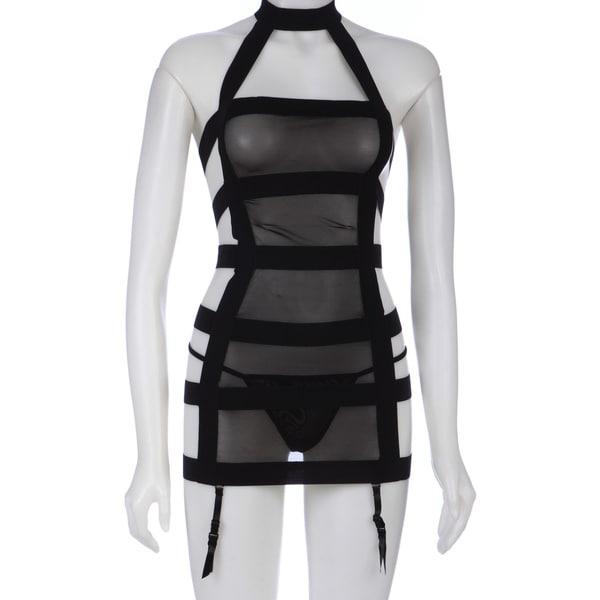 Rene Rofe Black Sexy Straps Garter Dress and G string Set   15572582
