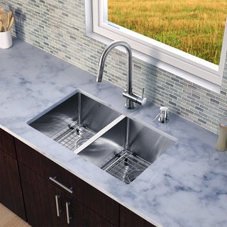 VIGO All-in-One 29-inch Stainless Steel Undermount Kitchen Sink and Gramercy Stainless Steel Faucet Set