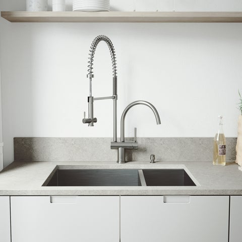 """VIGO All-In-One 29"""" Endicott Stainless Steel Double Bowl Undermount Kitchen Sink Set With Dresden Faucet In Stainless Steel"""