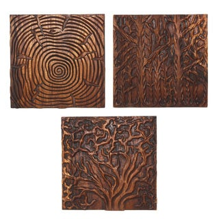 Hand-carved 'Tree Life' 18 x 18-inch 3-piece Natural Golden Oak Oil Solid Wall Panels (Thailand)