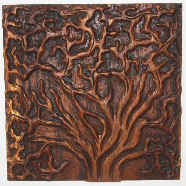 Handmade 'Tree Life' 18 x 18-inch 3-piece Natural Golden Oak Oil Solid Wall Panels (Thailand)