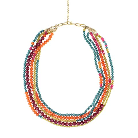 Handmade Five Layers of Color Necklace (India) - multi