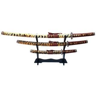 Tiger Print 40-inch Samurai Katana Swords 3-piece Set/ Stand