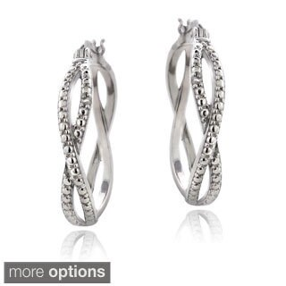 DB Designs Sterling Silver Diamond Accent Twisted Hoop Earrings