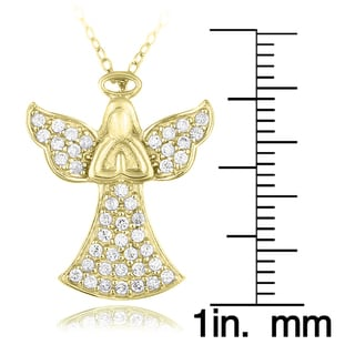 Icz Stonez Sterling Silver Or Gold Over Silver Cubic Zirconia Praying Angel Necklace