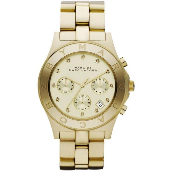 Marc Jacobs Women's MBM3101 'Blade' Glitz Chronograph Goldtone Watch