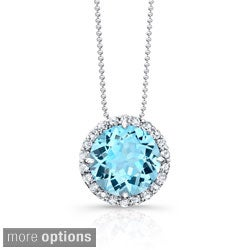 Sterling Silver Gemstone and 1/3ct TDW Diamond Necklace (J-K, I2-I3)