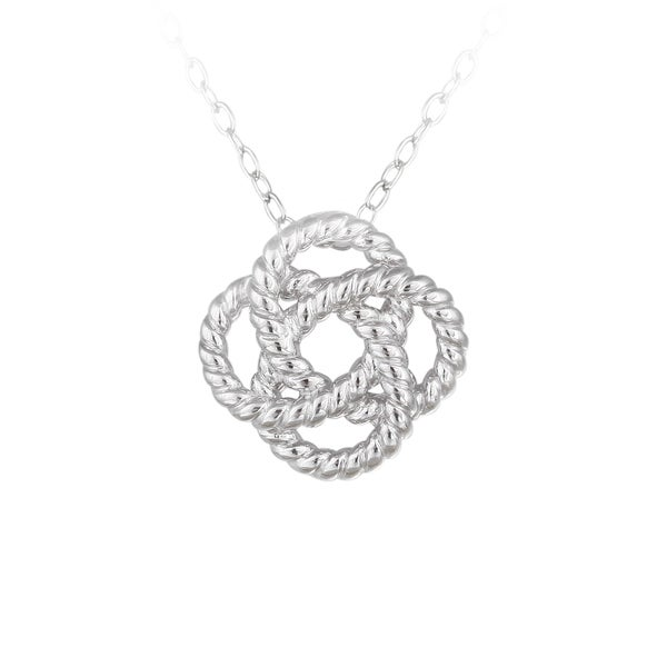 Mondevio Sterling Silver Rope Design Love Knot Flower Necklace