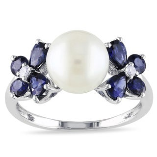 Miadora 10k White Gold Cultured Freshwater Pearl, Sapphire and Diamond Flower Ring