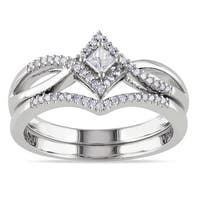 Miadora Sterling Silver 1/4ct TDW Diamond Split Shank Halo Bridal Ring Set
