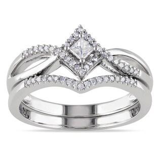 Miadora Sterling Silver 1/4ct TDW Diamond Split Shank Halo Bridal Ring Set