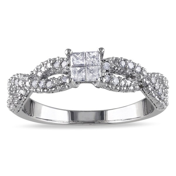 Miadora Sterling Silver 1/3ct TDW Princess-cut Braided Diamond Ring (H-I, I2-I3)