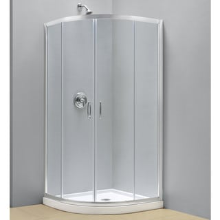 DreamLine Prime Frameless Sliding Shower Enclosure and SlimLine 33 x 33-inch Quarter Round Shower Base