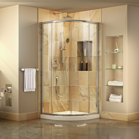 DreamLine Prime 33 in. x 33 in. x 74 3/4 in. H Corner Sliding Shower Enclosure and SlimLine Shower Base Kit, Clear Glass