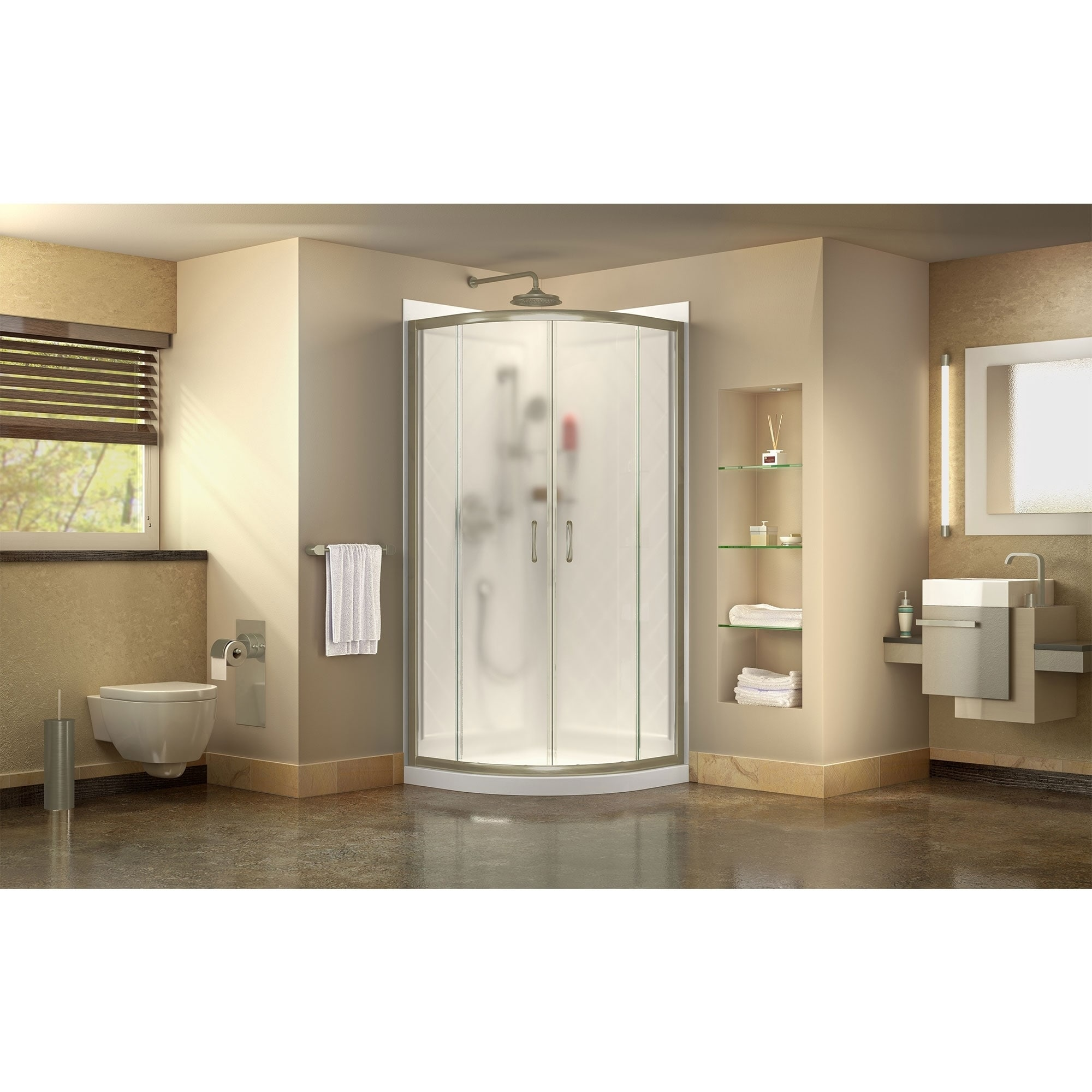 Dreamline Prime 33 In X 33 In X 76 3 4 In H Shower Enclosure Shower Base And Acrylic Backwall Kit 33 X 33