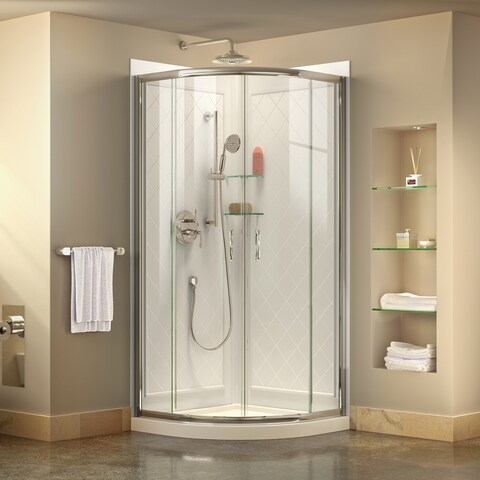 DreamLine Prime 31 3/8 in. by 31 3/8 in. Frameless Sliding Shower Enclosure, Base and QWALL-4 Shower Backwall Kit