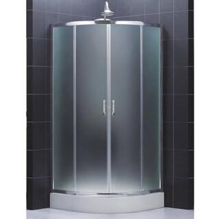 DreamLine Prime Frameless Sliding Shower Enclosure and SlimLine 36 x 36-inch Quarter Round Shower Floor