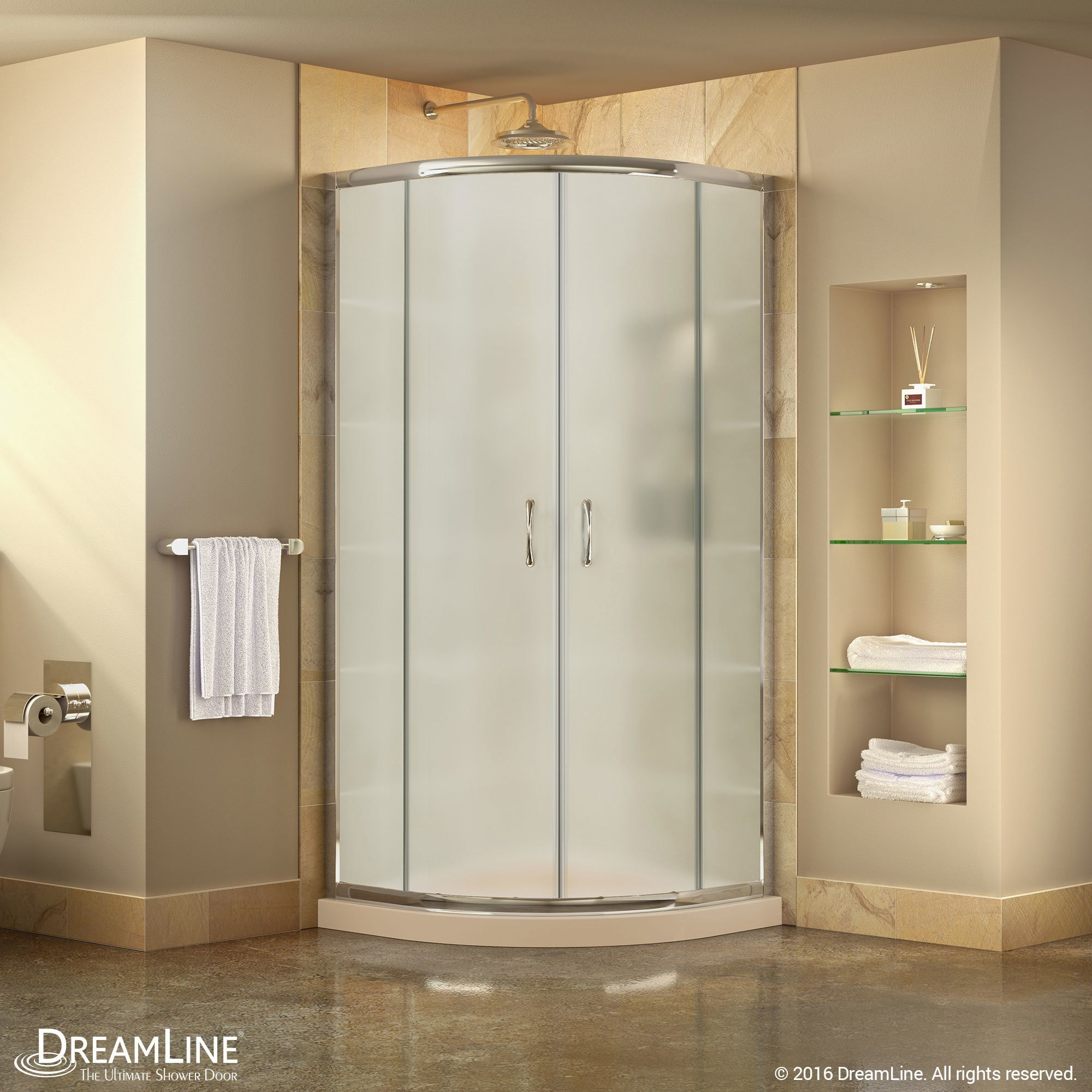 Dreamline Prime 36 In X 36 In X 74 3 4 In Corner Shower Enclosure And Shower Base Kit Frosted Glass
